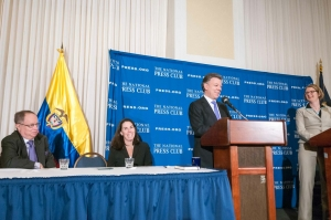 NPC President Angela Greiling Keane, far right, looks on as Juan Manuel Santos, president of Colombia, answers a question at a National Press Club Speakers event on Dec. 3, 2013. Also shown from left are NPC Vice President Myron Belkind and Alison Fitzgerald, chairman of the Speakers Committee.