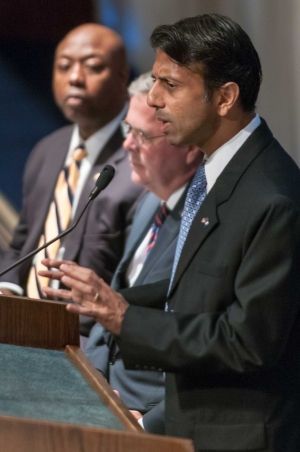 Louisiana Gov. Bobby Jindal joins fellow Republicans former Florida Gov. Jeb Bush and South Carolina Sen. Tim Scott to discuss the Department of Justice lawsuit against Louisiana's school-voucher program at a National Press Club Newsmaker, Sept. 18, 2013
