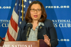 Sen. Tammy Duckworth said recruiting has become harder for the U.S. armed forces at a March 13 National Press Club event..