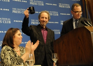 Comedian-filmmaker Harry Shearer (center), National Press Club President Mark Hamrick (right), Speakers Committee Chair Melissa Charbonneau (left)