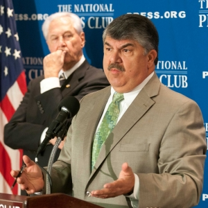 "AFL-CIO President Richard Trumka and IBEW President Edwin D. Hill announce  ""Workers Stand for America"" campaign at a National Press Club Newsmaker, July 12, 2012."