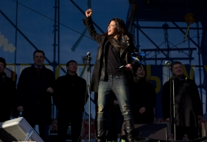 Ruslana performing at protests in Independence Square