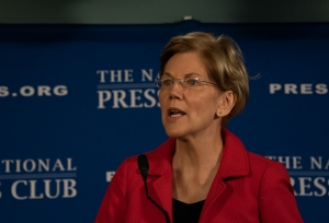 Sen. Elizabeth Warren makes a point at National Press Club Headliners Newsmaker event Aug. 21