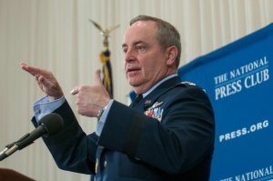 Air Force Chief of Staff Mark Welsh answered several questions regarding the use of remotely-piloted aircraft, or drones, during a National Press Club Breakfast on April 23, 2014. Referring to drones, Welsh declared that we are at the Wright Brothers' Flyer stage of understanding this technology.