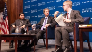 "Professor Raj Sisodia (left) joins Co-Founder & CEO of Whole Foods Market, John Mackey (center) for a Book Rap moderated by 2010 NPC president Alan Bjerga, February 5, 2013.  Mackey discussed his book, ""Conscious Capitalism: Liberating the Heroic Spirit of Business."""
