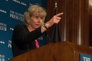 Nuclear Regulatory Commission chair Allison Macfarlane gestures to make a point at the Nov. 17 Club Luncheon.
