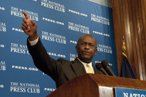 Republican presidential nomination contender Herman Cain