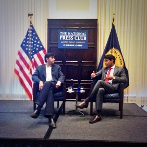 "Steven Olikara, president of the Millennial Action Project and NPC Events Committee member, right, interviews Aneesh Chopra, former chief technology officer of the United States, about his book, ""Innovative State"" at the National Press Club July 22, 2014."