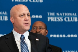 New Orleans Mayor Mitch Landrieu (left) and Philadelphia Mayor Michael Nutter discuss their campaign to cut the nation's murder rates, reduce gun violence and address other issues affecting urban communities.