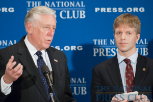 House Majority Leader Steny Hoyer, D-Md., fields questions from the press asked by NPC President Alan Bjerga at a new conference at the National Press Club, January 26, 2010.Photo: Noel...