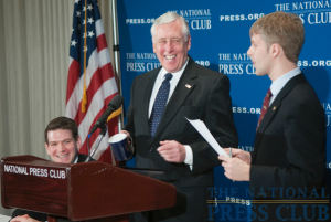 House Majority Leader Steny Hoyer, D-Md., accepts the tradition National Press Club coffee mug gift from NPC President, Alan Bjerga. (Left to right: Andrew Schneider, NPC Speakers Committee Chairman; Representative...