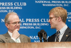 Paul Steiger, the editor-in-chief of ProPublica and the 2007 winner of the National Press Club's Fourth Estate Award takes questions from NPC president, Alan Bjerga during a June 15, 2007...