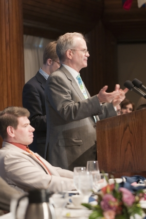 "Paul Steiger, the editor-in-chief of ProPublica, discusses ""Collaborating and Competing in Journalism's New Era"" at a June 15, 2010 National Press Club luncheon.  Mr. Steiger stated, ""I don't talk..."
