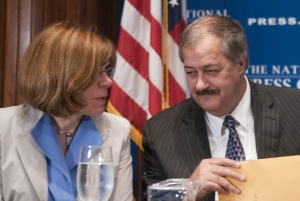 NPR's senior business editor Marilyn Geewax talks with Don L. Blankenship, chairman and chief executive officer of Massey Energy Company at a July 22, 2010 National Press Club luncheon. ...