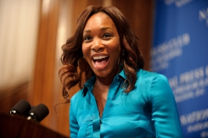 Venus Williams during a lighter moment at her sold-out July 7 NPC luncheon event. Photo by Sam Hurd.