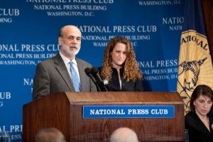 Ben S. Bernanke, the Chairman of the Federal Reserve, spoke at a National Press Club luncheon on Feb. 18 to discuss the current economic conditions.