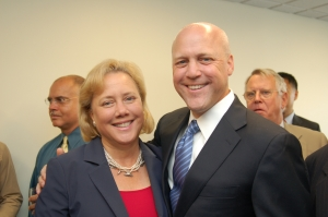 U.S. Sen Mary Landrieu, sister of New Orleans Mayor Mitch Landrieu, welcomes her brother to the National Press Club.