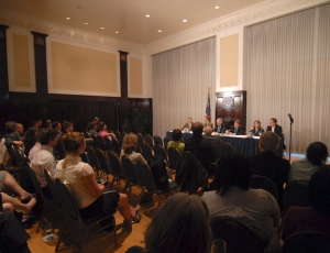The full panel at the NPC's May 13 forum,