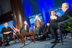 (From L to R): Tom Curley, Vivian Schiller, Marvin Kalb and Alberto Ibarguen listen as CNN President Jon Klein speaks.Photo: Noel St. John