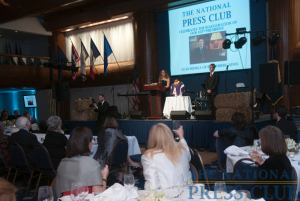 NPC members and guests raise their glasses as outgoing president Donna Leinwand toasts Alan Bjerga. Mr. Bjerga of Bloomberg News was formally inaugurated at a Press Club Gala, Jan. 30,...