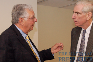 FreedomWorks Chairman Dick Armey, left, discusses health care issues with friend and former U.S. ambassador C. Boyden Gray before addressing National Press Club.Photo: Terry Hill
