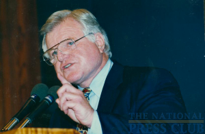 Senator Kennedy addresses a December 11, 1997 NPC Luncheon when he discussed Democratic Priorities.Photo: Christy BoweDate: December 11, 1997