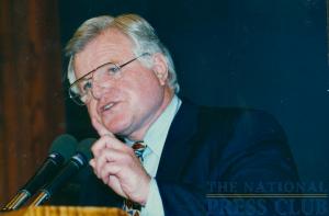 Senator Kennedy addresses a December 11, 1997 NPC Luncheon when he discussed Democratic Priorities.Photo: Christy BoweDate: December 11, 1997