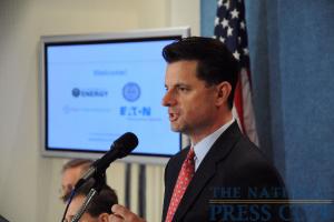 Frank Maisano (NPC) greets the press.Photo: Peter Cutts