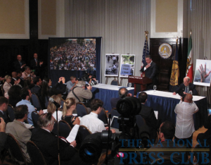 Reza Pahlavi, Iran's former Crown Prince, addresses a National Press Club Newsmaker press conference with NPC member Peter Hickman on June 22, 2009.Photo: Gregory Tinius