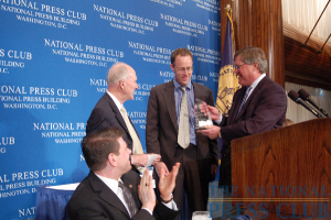 Gerald Ford Journalism Award winner Greg Jaffe of the Washington Post accepts the honor.Photo: Terry Hill