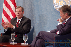 Former Sec. Leavitt, left, rebuts.Photo: Terry Hill