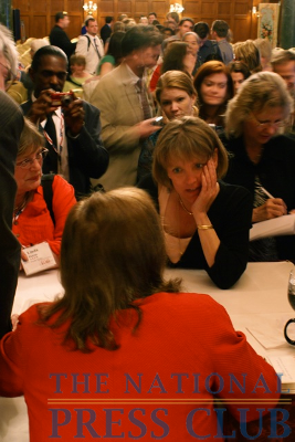 Scores of fans lined up to have Elizabeth Edwards autograph their copies of her book, Resilience, on Thursday at the National Press Club's event at the Willard Intercontinental Washington.Photo: Kyle...