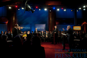 From L to R: Michael L. Lomax, Margaret Spellings, moderator Paul Solman, Richard Vedder and George Leef at a Miller Center Debate event held Feb. 26, 2010 at the National...