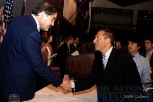 Oliver Stone exchanged greetings with a member of the audience following his speech.Photo: Marshall H. Cohen