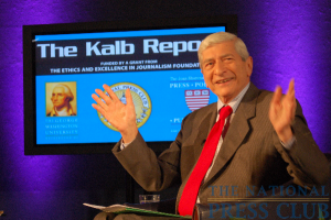 "Marvin Kalb closes the Kalb Report ""What Makes 60 Minutes Tick?""Photo: Terry Hill"