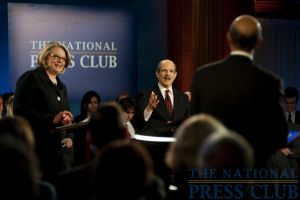 From L to R: Margaret Spellings, Moderator Paul Solman and Michael L. Lomax at a Miller Center Debate event held Feb. 26, 2010 at the National Press Club.Photo: Stephanie Gross