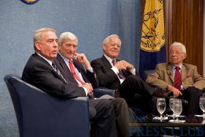 L to R: Dan Rather, Marvin Kalb, Bob Schieffer and Daniel Schorr.Photo: Michael Foley