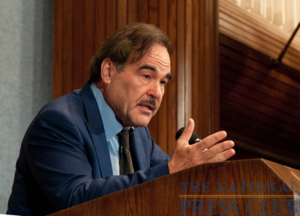 "Director Oliver Stone emphasizes a point in his talk about his new film, ""South of the Border,"" in which he challenges what he calls ""misconceptions"" about current Latin American leaders.Photo:..."