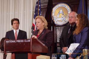 From left: National Commission on Children and Disasters Chairman and Save the Children Vice Pres. Mark K. Shriver; U.S. Sen. Mary Landrieu (D-La.); FEMA Administrator Craig Fugate; NPC Pres. Donna...