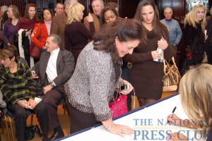 Audience lines up to get Denise Austin's autograph.Photo: Terry Hill