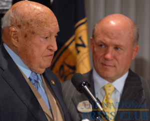 Chick-fil-A Inc. Founder/Chairman Truett Cathy (left) addresses a National Press Club Speakers Series luncheon as Chick-fil-A President/CEO Dan Cathy listens.Photo: Gregory Tinius