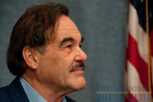 Oliver Stone listens to a question from an audience member during the Q&A session following his talk.Photo: Al Teich