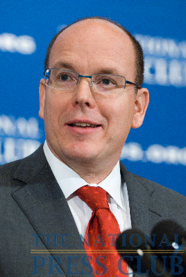 HSH Prince Albert II of Monaco, Marquis of Baux, speaks at a National Press Club luncheon on November 30, to discuss the environment and climate change. H.S.H. the Prince will...