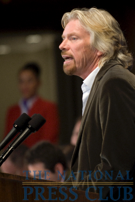 "Sir Richard Branson, President of Virgin Atlantic, discusses ""The Crisis In Aviation - 25 Years After Virgin Atlantic Began,"" at a National Press Club Speakers Breakfast on May 14.Photo: Noel..."