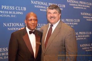 AFL-CIO leader Trumka meets NPC staffer Andrew Price, a 42-year union member.Photo: Terry Hill