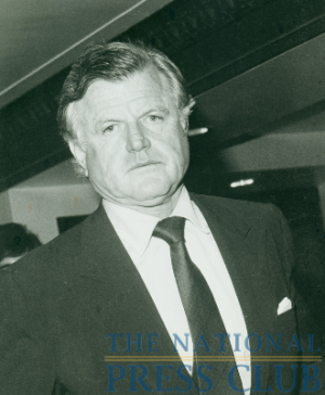Ted Kennedy is photographed in the hallways of the National Press Club in the 1970s.Photo: Berny KrugDate: August 26, 2009