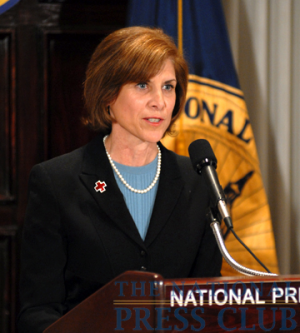 Gail McGovern, President and CEO of the American Red Cross, addresses a Press Club Luncheon on July 21, 2009.Photo: Gregory Tinius