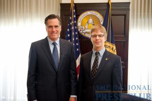 Former Governor of Massachusetts Mitt Romney (left) and National Press Club President Alan Bjerga (right).Photo: Sam Hurd