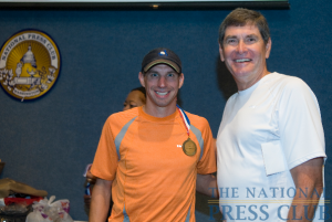 Matt Straughn (left), winner of the 12th Annual NPC 5K.Photo: Noel St. John
