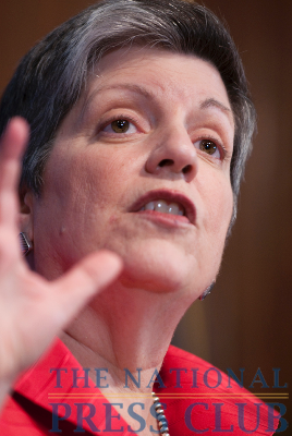 Janet Napolitano, secretary of the Department of Homeland Security, addresses the National Press Club at an April 15 luncheon about the state of the nation's, as well as the world's,...